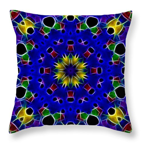 Primary Colors Throw Pillow featuring the photograph Primary Colors Fractal Kaleidoscope by Kathy Clark