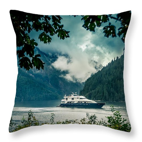 Tour Boat Throw Pillow featuring the photograph Princess Louisa Inlet by Mike Penney