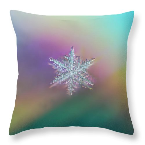 Snowflake Throw Pillow featuring the photograph Prismatic Flake by Jackie Novak