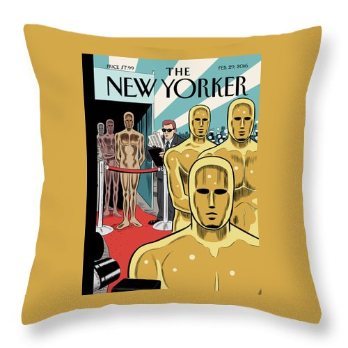 Oscars Throw Pillow featuring the painting Privileged Characters by Daniel Clowes