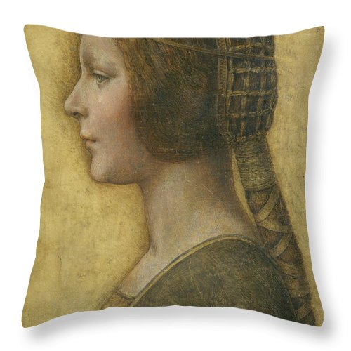 Female; Portrait; Plait; Hairstyle; Drawing; Renaissance; Leonardo Throw Pillow featuring the painting Profile Of A Young Fiancee by Leonardo Da Vinci