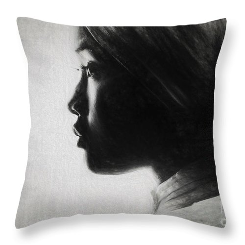 Sketch Throw Pillow featuring the photograph Profile Of A Young Woman In Turban by Sheila Smart Fine Art Photography