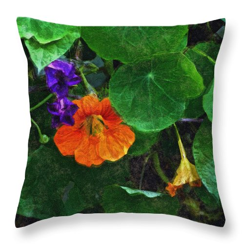 Nasturtiums Throw Pillow featuring the painting Prolonging Summer by RC DeWinter