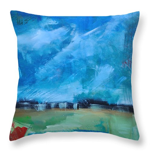Abstract Throw Pillow featuring the painting Prophesy by Tim Nyberg