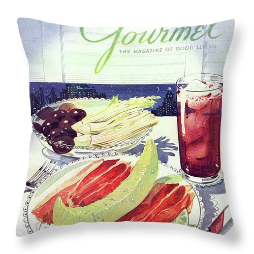 Food Throw Pillow featuring the photograph Prosciutto, Melon, Olives, Celery And A Glass by Henry Stahlhut
