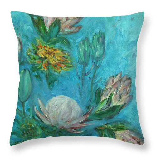 Proteas Throw Pillow featuring the painting Protea Flower Study I by Xueling Zou