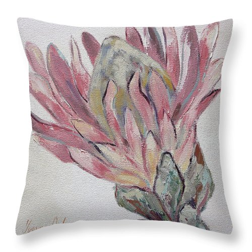 Flowers Throw Pillow featuring the painting Protea Study 1 by Yvonne Ankerman