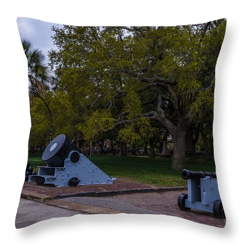 Cannon Throw Pillow featuring the photograph Protect The Battery by Dale Powell