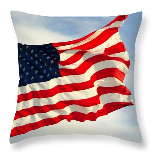 American Flag Throw Pillow featuring the photograph Proudly Waving by Cynthia Clark