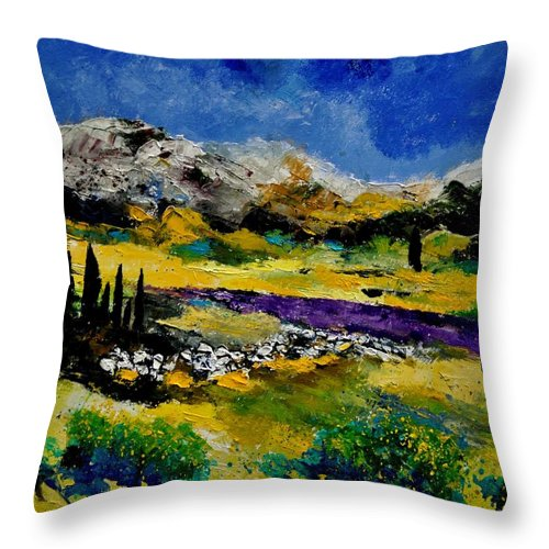 Landscape Throw Pillow featuring the painting Provence 452121 by Pol Ledent