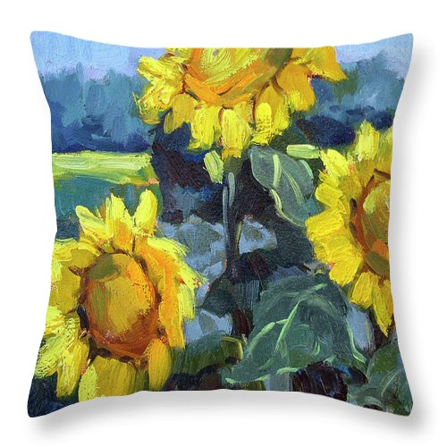 Provence Throw Pillow featuring the painting Provence Sunflower Trio by Diane McClary