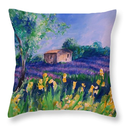Floral Throw Pillow featuring the digital art Provence Yellow Flowers by Eric Schiabor