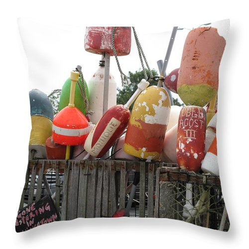 Buoys Throw Pillow featuring the photograph Provencetown Lobster Buoys by Barbara McDevitt