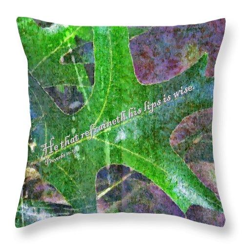 Jesus Throw Pillow featuring the digital art Proverbs 10 19 by Michelle Greene Wheeler