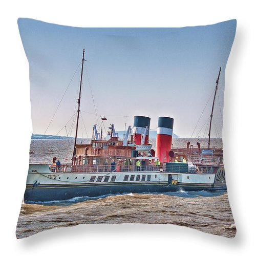The Waverley Paddle Steamer Throw Pillow featuring the photograph Ps Waverley Approaching Penarth by Steve Purnell