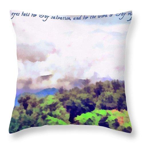 Jesus Throw Pillow featuring the digital art Psalm 119 123 by Michelle Greene Wheeler