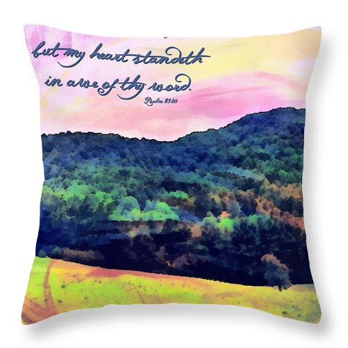 Jesus Throw Pillow featuring the digital art Psalm 119 161 by Michelle Greene Wheeler