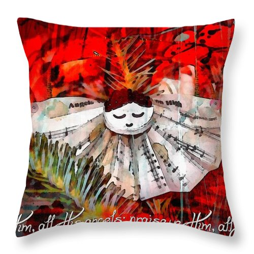 Jesus Throw Pillow featuring the digital art Psalm 148 2 by Michelle Greene Wheeler