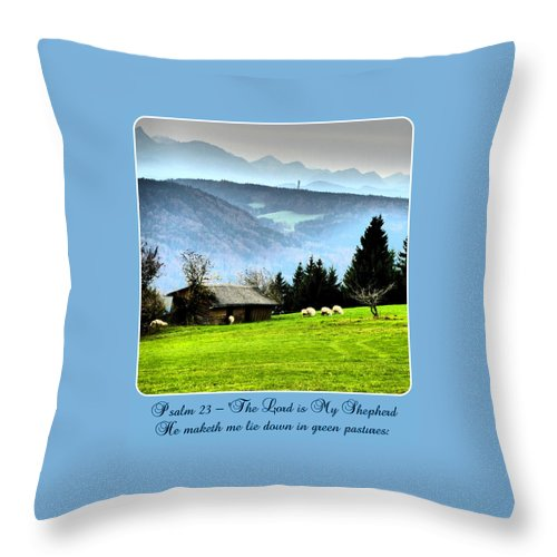 Psalm 23 Throw Pillow featuring the photograph Psalm 23 The Lord Is My Shepherd ... He Maketh Me Lie Down In Green Pastures by The Creative Minds Art and Photography