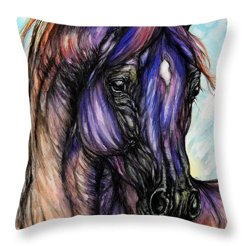 Horse Throw Pillow featuring the painting Psychedelic Blue And Orange by Angel Ciesniarska