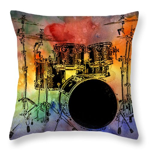Drums Throw Pillow featuring the photograph Psychedelic Drum Set by Athena Mckinzie