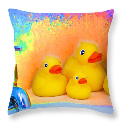 Psychedelic Throw Pillow featuring the photograph Psychedelic Ducks And Faucet by Peter Lloyd