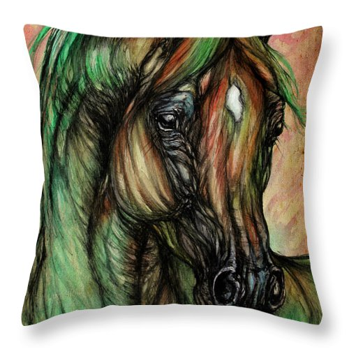 Horse Throw Pillow featuring the painting Psychedelic Green And Pink by Angel Ciesniarska