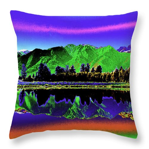 New Zealand Throw Pillow featuring the photograph Psychedelic Lake Matheson Ner Zealand 3 by Peter Lloyd