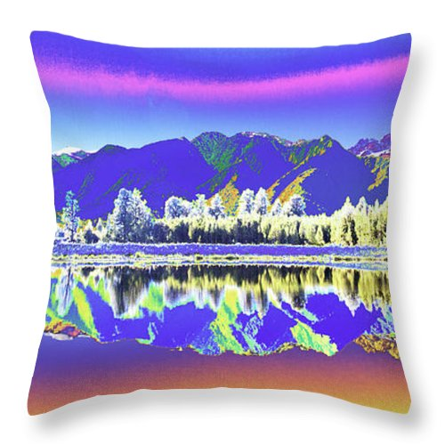 New Zealand Throw Pillow featuring the photograph Psychedelic Lake Matheson New Zealand 2 by Peter Lloyd