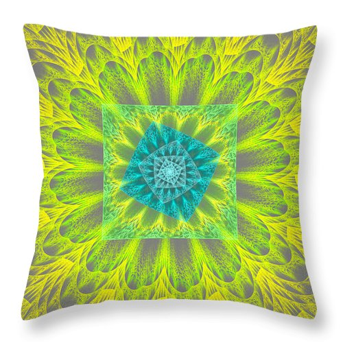 Round Throw Pillow featuring the photograph Psychedelic Spiral Vortex Yellow And Gray Fractal Flame by Keith Webber Jr