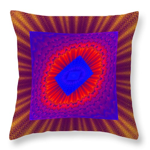 Round Throw Pillow featuring the photograph Psychedelic Spiral Vortex Yellow Blue And Red Fractal Flame by Keith Webber Jr