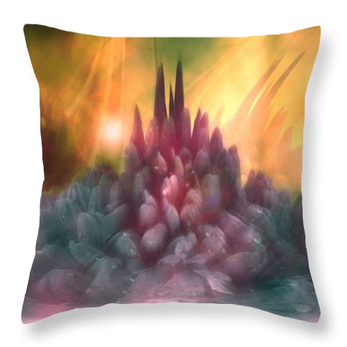 Abstract Throw Pillow featuring the digital art Psychedelic Tendencies  by Linda Sannuti