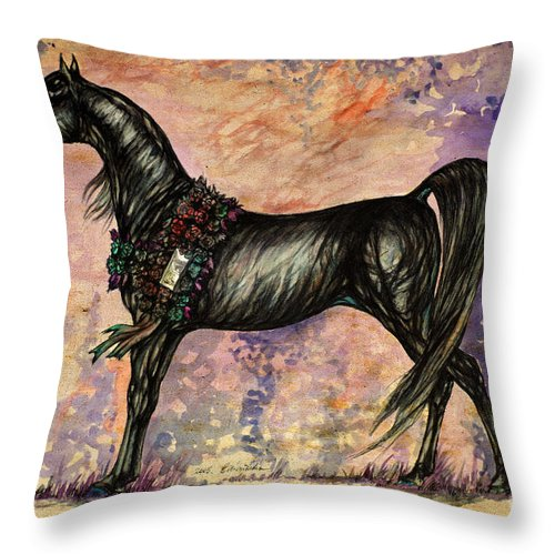 Horse Throw Pillow featuring the painting Psychodelic Black And Blue by Angel Ciesniarska