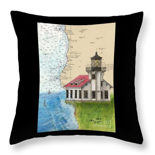 Point Throw Pillow featuring the painting Pt Cabrillo Lighthouse Ca Nautical Chart Map Art Cathy Peek by Cathy Peek