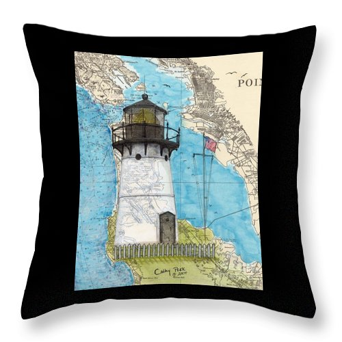 Point Throw Pillow featuring the painting Pt Montara Lighthouse Ca Nautical Chart Map Art Cathy Peek by Cathy Peek
