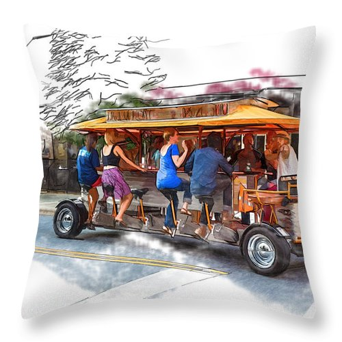 Asheville Throw Pillow featuring the mixed media Pubcycle by John Haldane