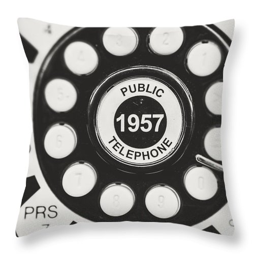 Telephone Throw Pillow featuring the photograph Public Telephone 1957 In Black And White Retro by Lisa Russo