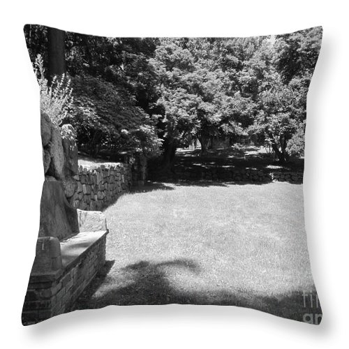 Stone Throw Pillow featuring the photograph Pudding Stone Wall - Stickley by Susan Carella