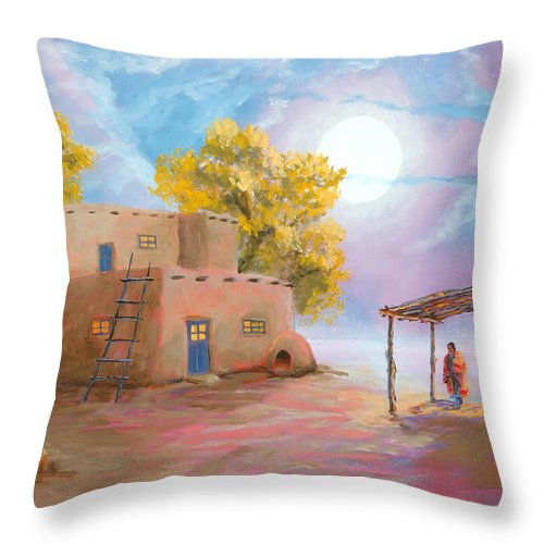 Pueblo Throw Pillow featuring the painting Pueblo de las Lunas by Jerry McElroy
