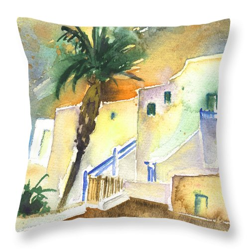 Travel Throw Pillow featuring the painting Puerto Carmen Sunset In Lanzarote 03 by Miki De Goodaboom
