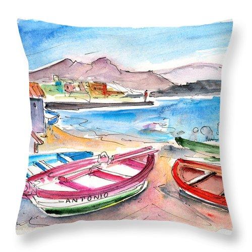 Travel Throw Pillow featuring the painting Puerto De Sardina 03 by Miki De Goodaboom