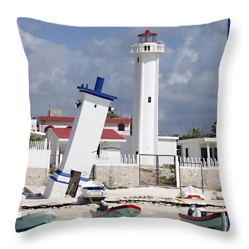 Puerto Morelos Lighthouse Throw Pillow featuring the photograph Puerto Morelos Lighthouse by Ellen Henneke
