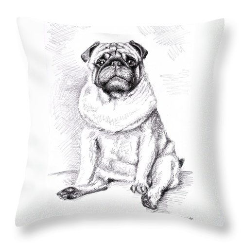Dog Throw Pillow featuring the drawing Pug Anton by Nicole Zeug