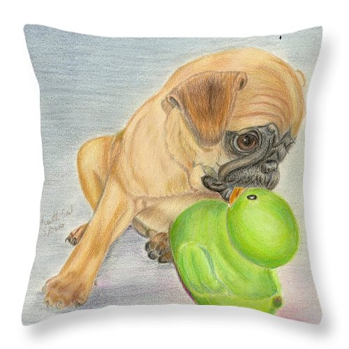 Animals Throw Pillow featuring the drawing Pug Puppy by Ruth Seal