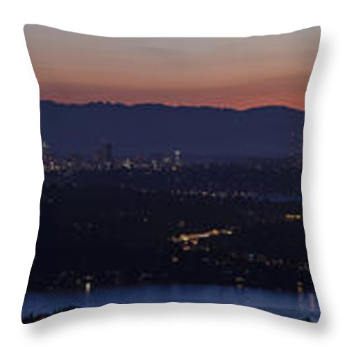 Puget Sound Throw Pillow featuring the photograph Puget Sound Panorama by Mike Reid
