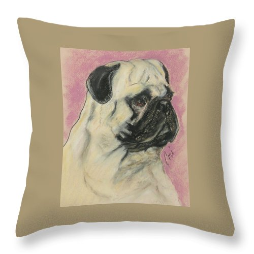 Pug Throw Pillow featuring the drawing Pugnacious by Cori Solomon