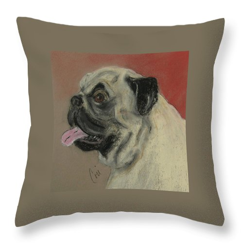 Pug Throw Pillow featuring the drawing Pugster by Cori Solomon
