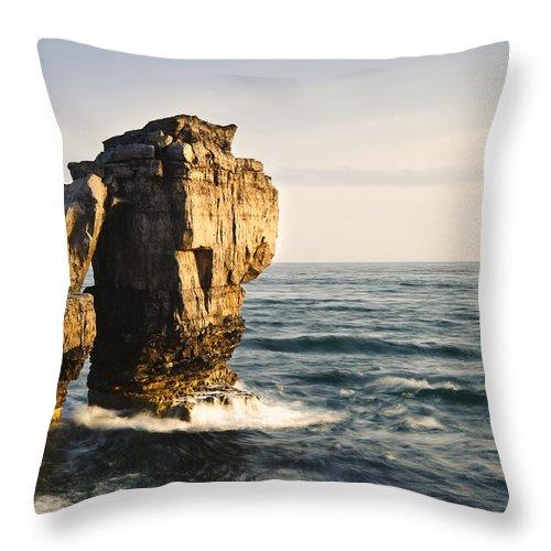 Rocks Throw Pillow featuring the photograph Pulpit Rock Jurassic Coast by Matthew Gibson