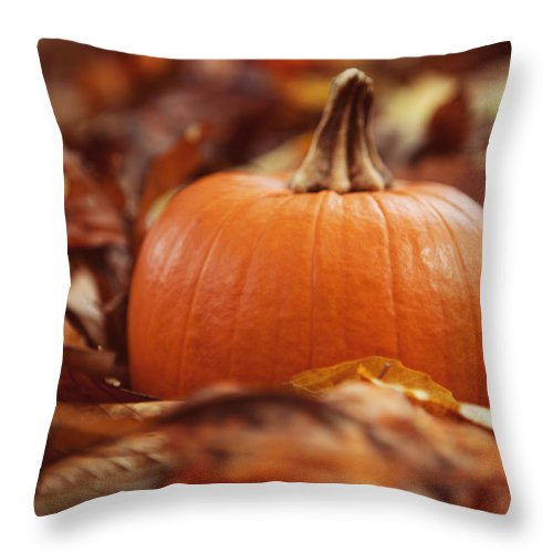 Pumpkin Throw Pillow featuring the photograph Pumpkin In Leaves by Kim Fearheiley