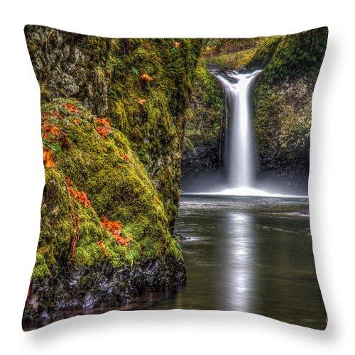 Oregon Throw Pillow featuring the photograph Punch Bowl Falls by Matt Hoffmann